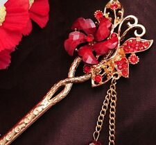 2014 New Design Hair Stick Rhinestone Red crystal Flower Chains Women's Hairpin