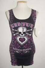 SINFUL BY AFFLICTION SIZE LARGE BLACK HIP KITTIE SKULL RHINESTONES FASHION TOP