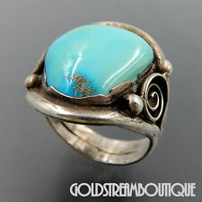 VINTAGE OLD PAWN NAVAJO STERLING SILVER AMERICAN TURQUOISE UNISEX RING #06486