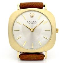 Vintage Rolex Geneve Mechanical Yellow Gold Women's Watch on Leather Band