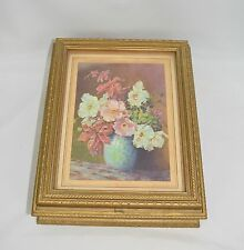 Vintage Antique Hinged Gold Gilt Wood Jewelry Box with Floral Print Under Glass
