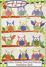 OKEY DOKEY OWL and FRIENDS Applique Quilt Pattern by Jennifer Jangles
