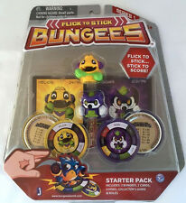 BRAND NEW FLICK TO STICK BUNGEES STARTER PACK ~HELIOS & SIGMA ~ CARDS DISKS