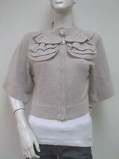 JENNY HAN 100% Wool Beige Cropped Kimono Sleeve Cardigan Sweater Sz M New NWT