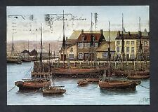 Artist View of St. Helier Harbour, Jersey. Stamp/Postmark - C1980's.