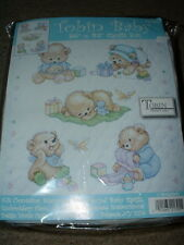 "Tobin Baby Bears Cross Stitch Baby Quilt Kit #T21705 36x43"" NEW w/Floss"