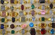 wholesale Jewelry lots 25pcs imitate Big CZ Golden P colorful Fashion rings