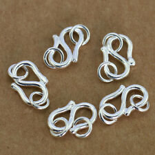 925 5pcs Sterling Silver S Cord Head Buckle Bracelet Necklace Clasp DIY Accessor