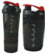 Compartment Red Protein Shaker 500ml Water Nutrition Mixer Bottle