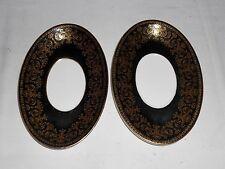 "2 Wedgwood ""Caernarvon"" Black & Gold 8 5/8"" Oval Plates"