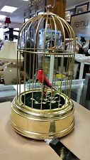 VINTAGE BRASS MUSIC BOX BIRD CAGE MECHANICAL BIRD MADE IN WEST GERMANY