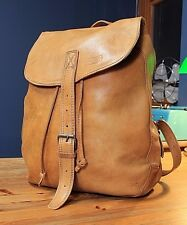 "15"" Rustic Full Grain Leather Backpack Portland Oregon Tan Brown Rucksack Mens"