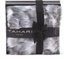 "Tahari Throw Blanket Diamond Faux Fur Gray Mix Reversible w/ Box 50"" X 60"" NWT"