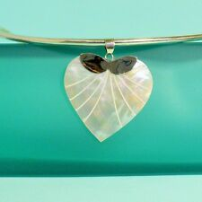 "1 1/2"" Heart Shaped Mother of Pearl Shell 925 Sterling Silver Handmade Pendant"