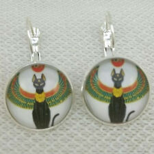 Fashion jewelry Egyptian Cat With An Eye Glass cabochon Silver Earrings Jewelry
