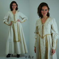 VTG 70s Cotton Linen Edwardian Renaissance Wedding Gunne Sax Maxi Dress S M