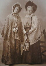 1907's BLONDE LADIES w/EDWARDIAN DINING DRESS CAP FAN & BONNET HAMBURG PHOTO