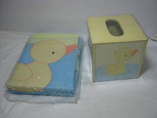 2 PC Tiddliwinks  Bath Set Duckie  Shower Curtain and Tissue Box Yellow Duck NEW