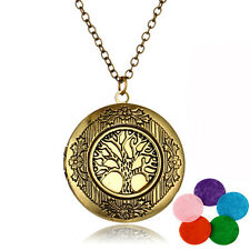 Hot Tree Of Life Antique Brass Tone Aromatherapy Locket Charm Pendant Necklace