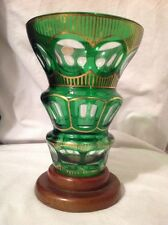 Vintage Emerald Green Cut to Clear Crystal Vase Bohemian Czech Wood Base
