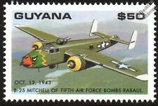 Wwii us 5th air force B-25 mitchell bombes rabaul avion timbre (1993 guyana)