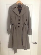 Paul Costelloe Grey Brown Beige Trench Coat Made In Portugal Uk 10 12 Quality