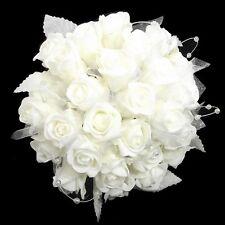 White Wedding/bridesmaid Bouquet (30 Roses) With Organza Glitter And Pearl Loops