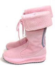 Adidas TREFOIL AROSA Pink Suede And Gray 3 Stripe Snow Winter Boot Womens 7 CUTE