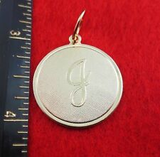 """14 KT GOLD EP LARGE(OVER 1"""") ROUND INITIAL DISC LETTER J PENDANT CHARM"""