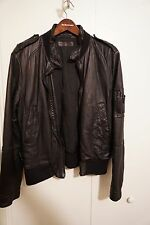 New Neil Barrett Black Leather Jacket L $2525 w/ Salvatore Ferragamo Garment Bag