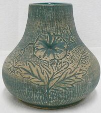 "RED WING POTTERY STONEWARE BLUE BRUSH 6-1/2 "" VASE FLOWER PATTERN"