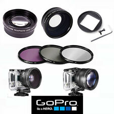 GOPRO HERO4 SILVER & BLACK WIDE ANGLE LENS+TELEPHOTO ZOOM LENS + FILTER KIT