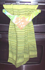 LIME GREEN KITCHEN-HAND BATHROOM HANGING TOWEL=COLORFUL  LEAVES & FLOWER BUTTONS