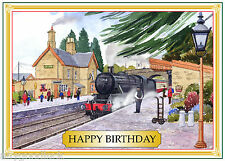 STEAM LOCOMOTIVE TRAIN SEVERN VALLEY HAPPY BIRTHDAY CARD FREE POST 1ST CLASS
