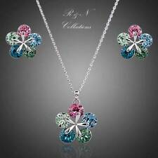 Multi Color Flower White Gold Plated SWAROVSKI Crystal Necklace Earrings Set