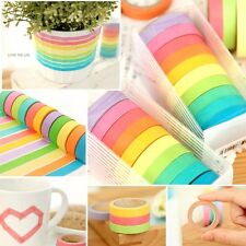 10PZ Nastro Adesivo in carta Decorativo Arcobaleno Scrapbooking Tape Washi DIY