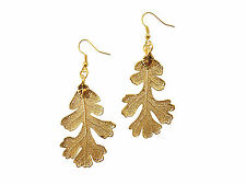 Lacy Oak Real Leaf 24k Gold Dipped/Plated French Wire Dangle, Hook Earrings US