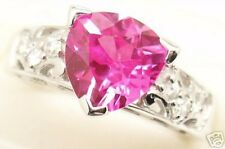 Gorgeous Pink Created Sapphire Silver Ring, Sep # 14