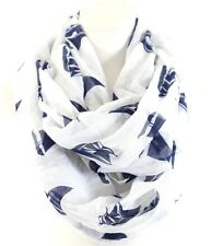 B19 Eternity White Navy Blue Sailboat Nautical Theme Infinity Scarf Boutique