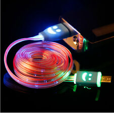 Light Up LED Smile Micro USB Data Sync Charger Cable For Android Phone Samsung