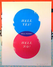 Hell Yes Hell No Hell Maybe Olly Moss Signed Screen Print Paper Cuts Show Poster