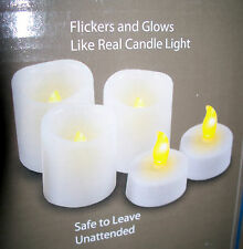 Set 18 LED FLAMELESS VOTIVE & TEA LIGHT CANDLES & 18 Button Batteries New in Box