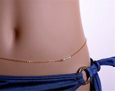 Chunky thin gold plated pearl bead long  adjustable belly body waist long chain