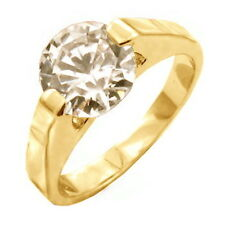 Gold Plated Solitaire Engagement Ring Round Cubic Zirconia Size 11 USA Seller