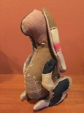 Rustic Primitive OOAK PATCHWORK Wool Easter BUNNY RABBIT Doll Hinged