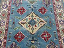 7'x10' Geometric New Fine Blue Super Pak Kazak hand knotted wool Oriental rug