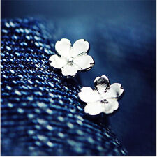 1 Pair Women Chic Flower Earrings Mini Sakura Silver Ear Studs Earrings Jewelry