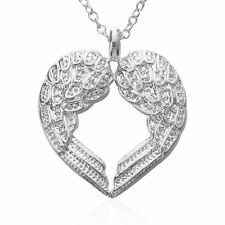 925 STERLING SILVER ANGEL WING HEART NECKLACE Heaven Victoria Secret Mother Mom
