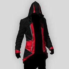 Black Red L Stylish Creed Hoodie Men's Cosplay For Assassins Jacket Coat Costume