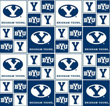 Cotton Brigham Young University BYU Cougars NCAA Cotton Fabric Print D663.31